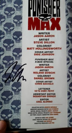 My copy of the Punisher MAX Omnibus, signed by Jason Aaron. Photo by me.