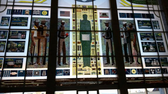 The stained glass window of the Masonic foyer. Photo by me.