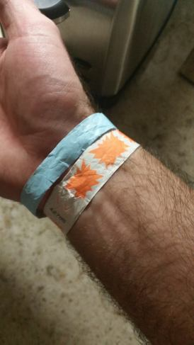 Two wristbands, because you can never have enough wrist hair irritation. Photo by me.