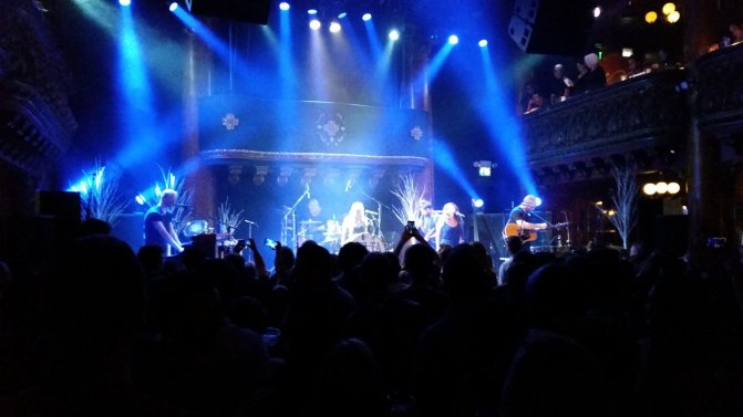 Delta Rae performing at the Great American Music Hall. The guy I know is on the far left, playing piano. Photo by me.