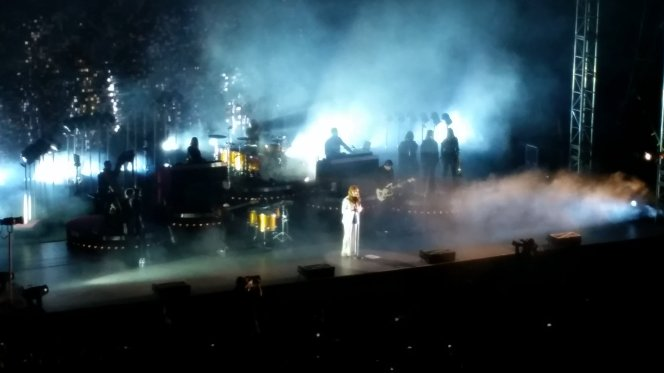 I swear this is a photo of Florence Welch, flanked by her impressive Machine. Photo by me.